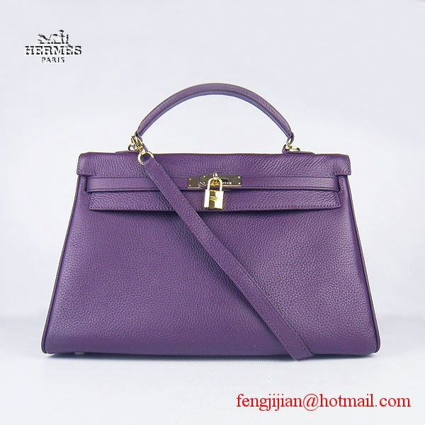 Hermes Kelly 35cm Togo Leather Bag Purple 6308 Gold Hardware