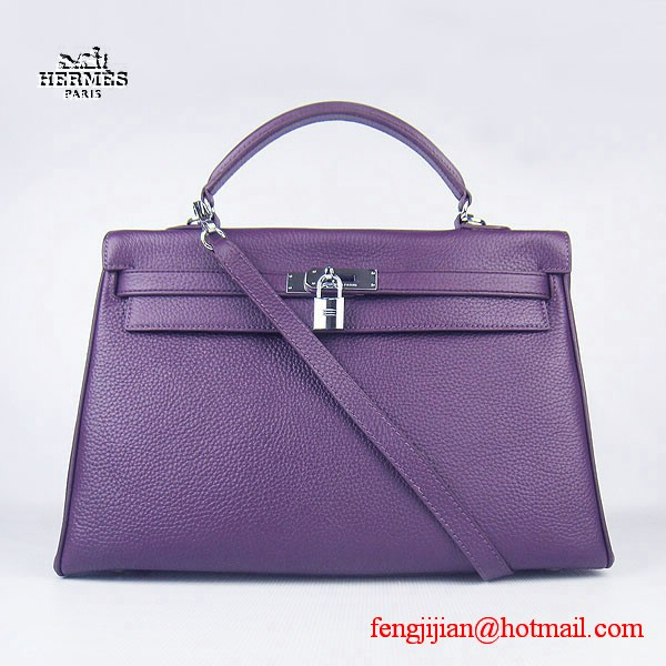 Hermes Kelly 35cm Togo Leather Bag Purple 6308 Silver Hardware