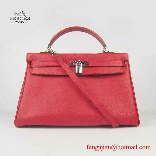 Hermes Kelly 35cm Togo Leather Bag Red 6308 Silver Hardware
