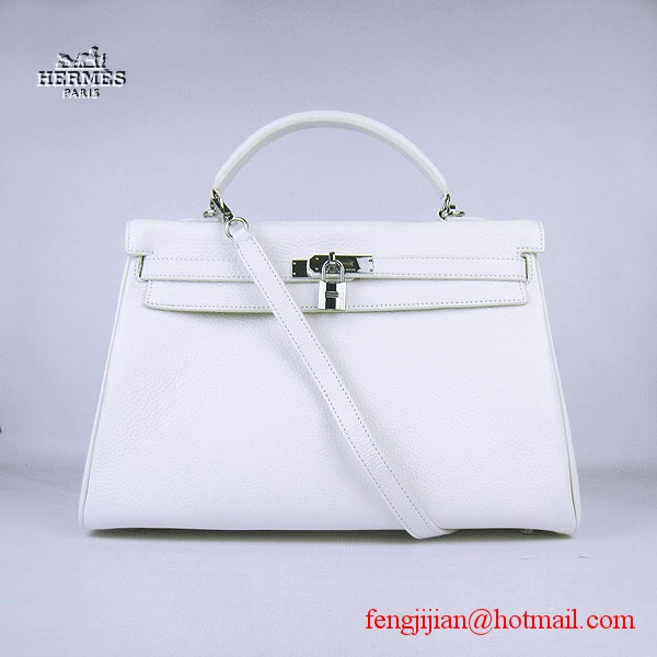 Hermes Kelly 35cm Togo Leather Bag White 6308 Silver Hardware
