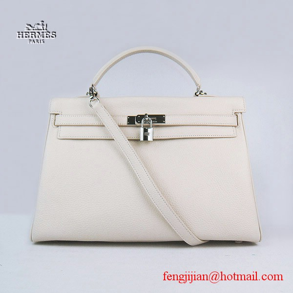 Hermes Kelly 35cm Togo Leather Bag Beige 6308 Silver Hardware