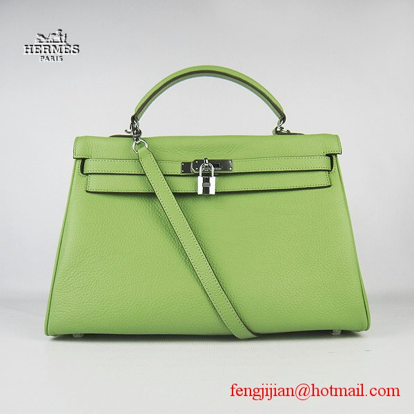 Hermes Kelly 35cm Togo Leather Bag Green 6308 Silver Hardware