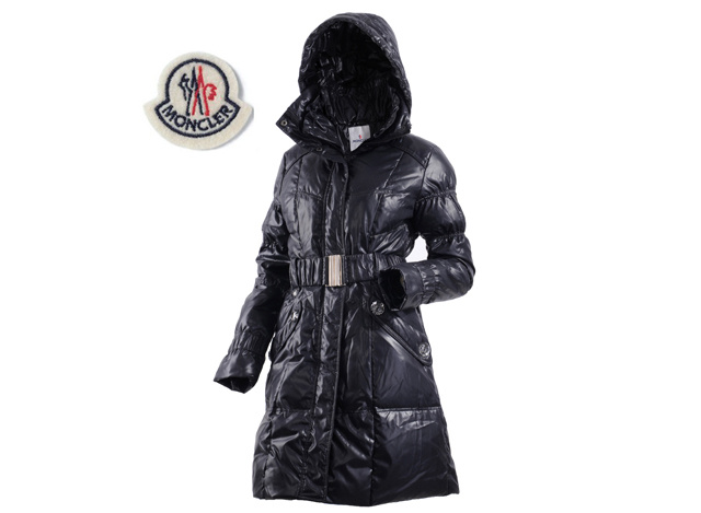 Moncler Ladies Long Belt Down Coat Black