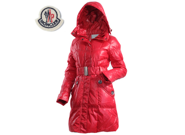 Ladies Moncler Long Belt Down Coat Dark Red
