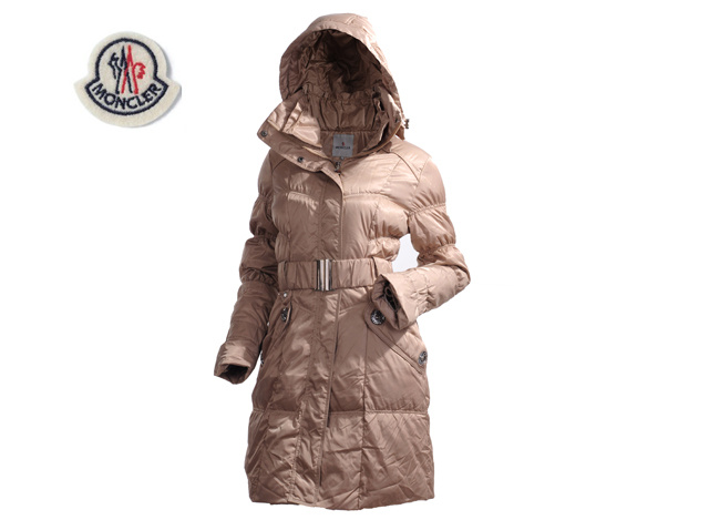 Ladies Moncler Long Belt Down Coat Light Coffee