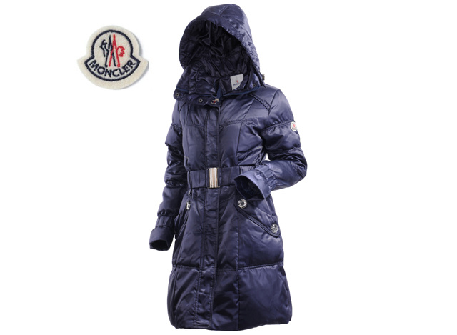 Ladies Moncler Long Belt Down Coat Navy
