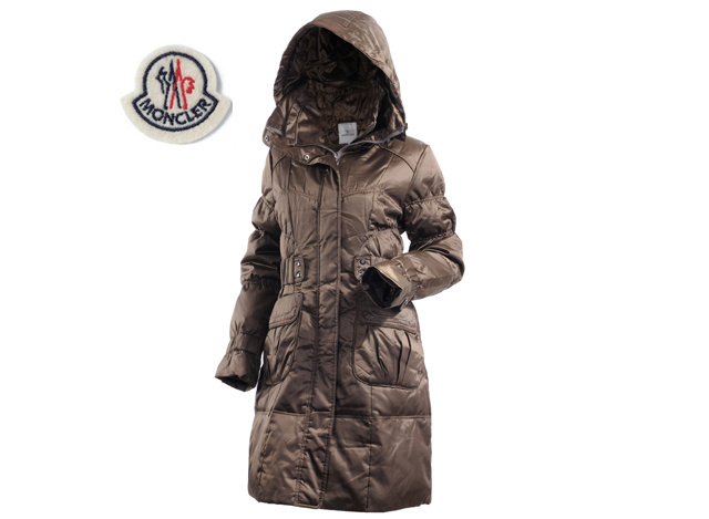 Moncler Ladies Long Down Coat Coffee