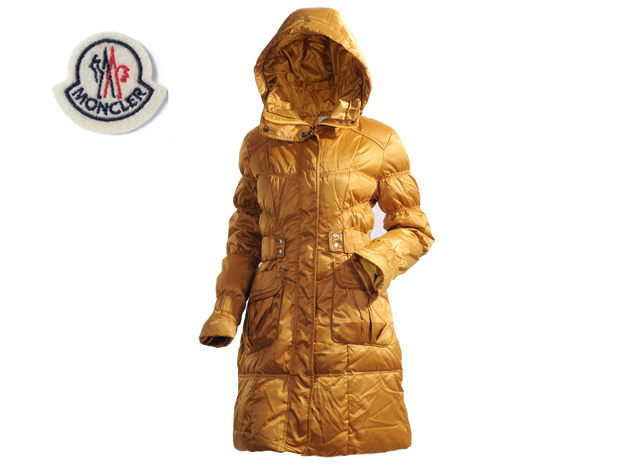 Moncler Ladies Long Down Coat Dark Yellow