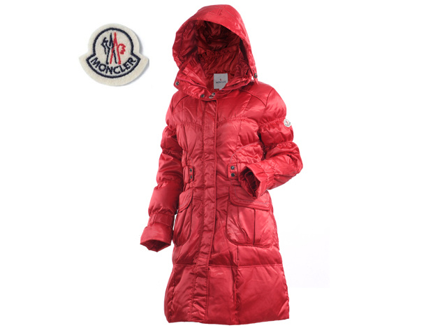Moncler Ladies Long Down Coat Red