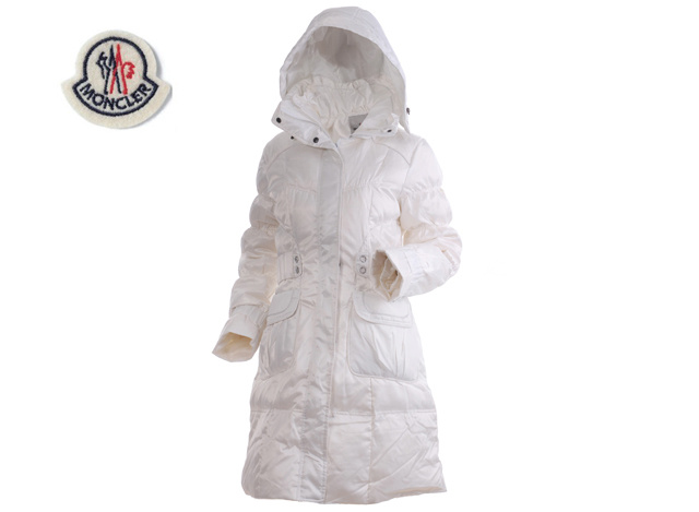 Moncler Ladies Long Down Coat White